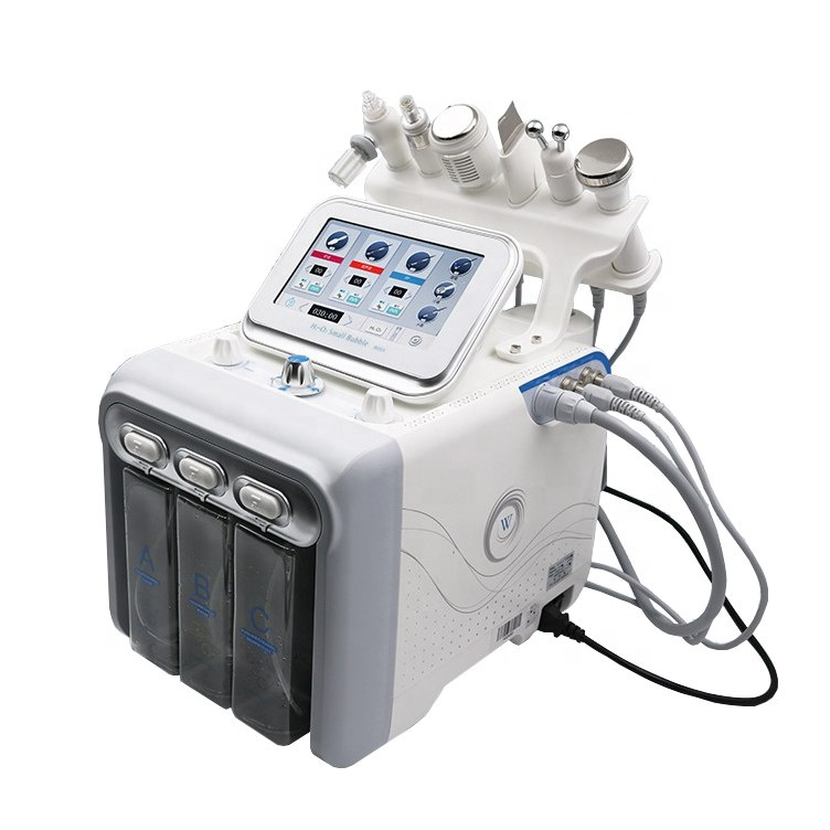 2019 Hot Multifunctional Hydro facial H2o2 small bubble skin scrubber ultrasound rf bio microcurrent device salon use