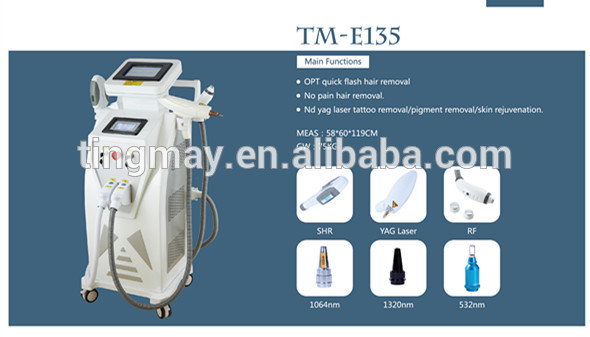 2019 best combination professional 4 in 1 shr+ipl+Opt RF nd yag laser hair removal tattoo removal beauty machine