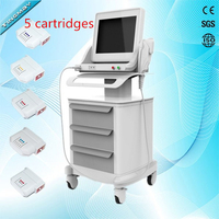 2018 Hot HIFU five cartridges high intensity focused ultrasound machine face lift wrinkle removal equipment